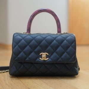 Authentic Chanel Coco Handle with Snake Skin Mini